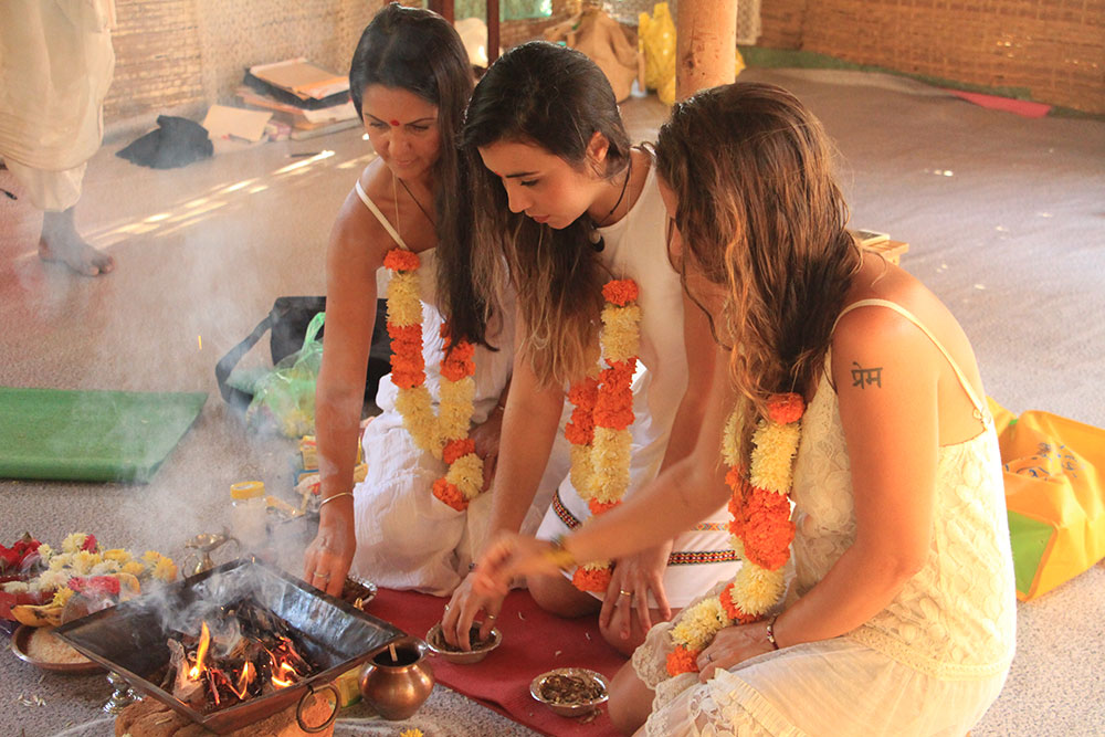 Ayurveda Massage Course in Goa, India - Students participating in Fire Ceremony
