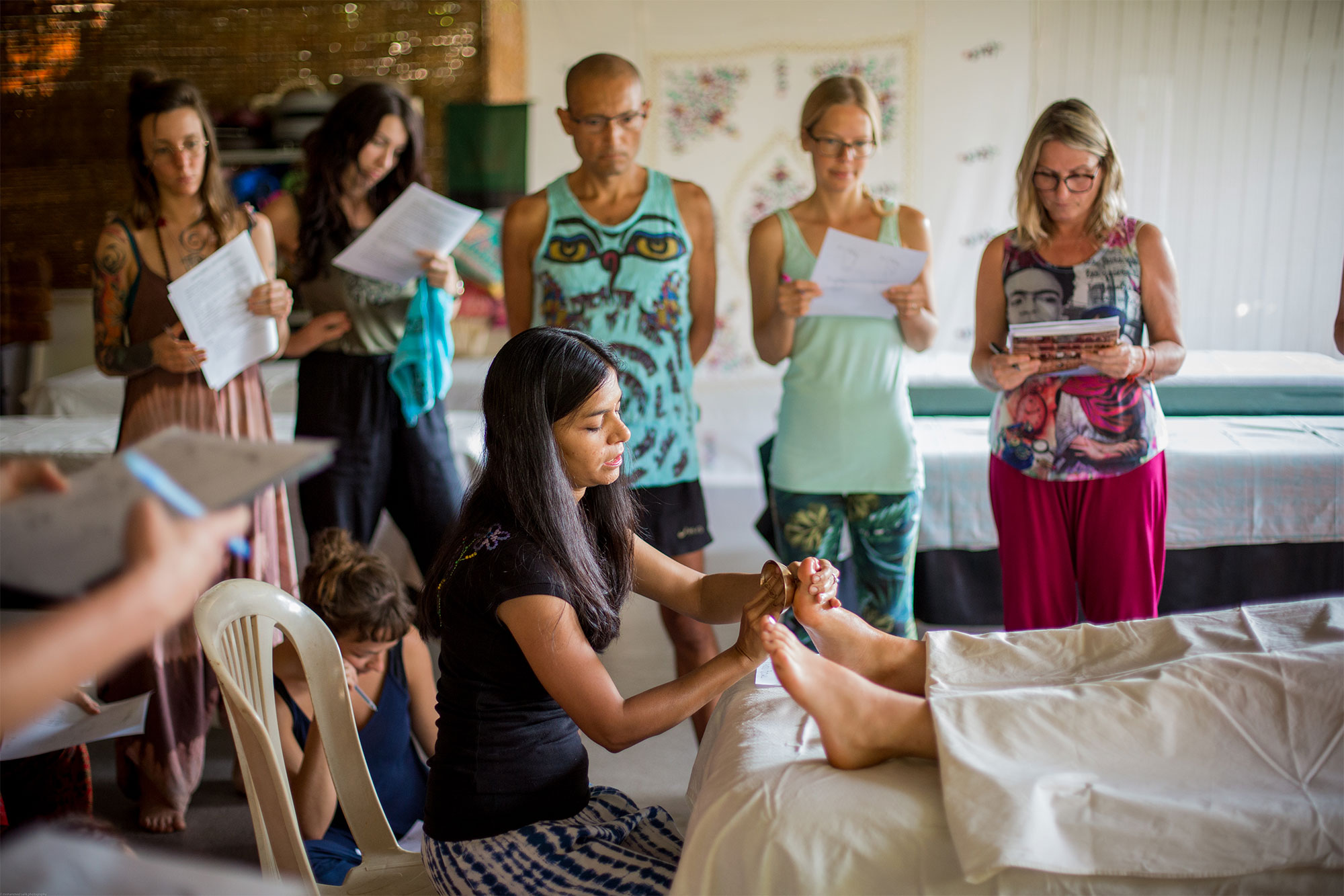 Ayurveda Massage Course in Goa, India ~ Students learning Kansu Bowl Massage from Gagori