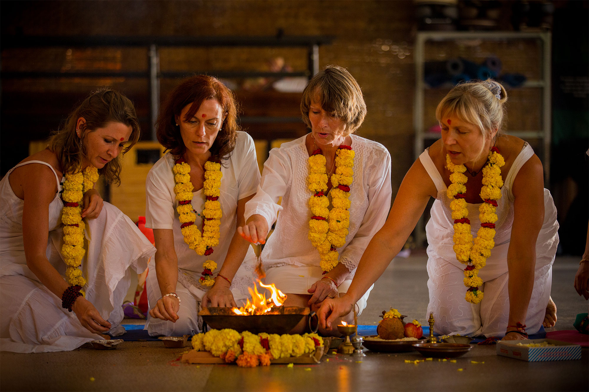 Aithein Ayurveda Massage School in Goa, India - Students in Fire Ceremony